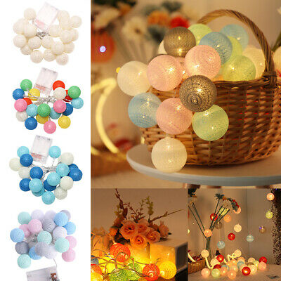 10 20 LED Globe Cotton Balls String Fairy Lights Home Party Christmas Decoration • 9.65£