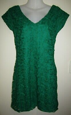 AU16.82 • Buy New MNG Mango Green Short Sleeve Lace Dress Size 10 Small S BNWT RRP:$129.95
