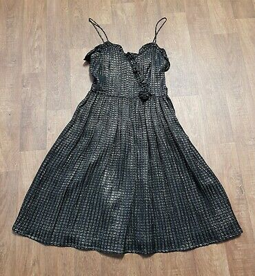 AU222.84 • Buy 1970s Vintage Radley Black & Gold Ruffled Party Dress UK Size 10 Vintage Clothes