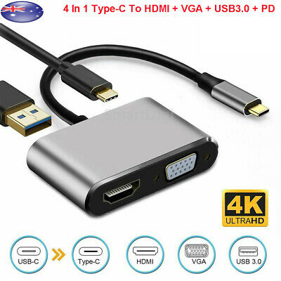 AU21.05 • Buy 4 In 1 USB C Type-C To HDMI 4K VGA USB3.0 PD Video Adapter For MacBook/Phone