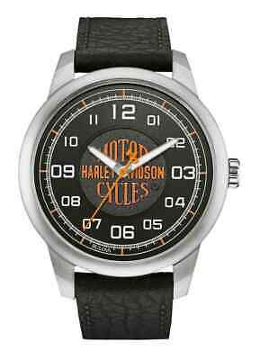 Harley-Davidson Men's Bar & Shield Script Watch, Stainless Steel/Leather 76A155 • 71.15£