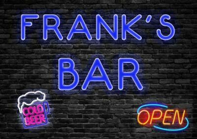 Personalised Cocktail Bar Metal Sign Neon Style Plaque Fun Alcohol Beer Garage • 4.99£