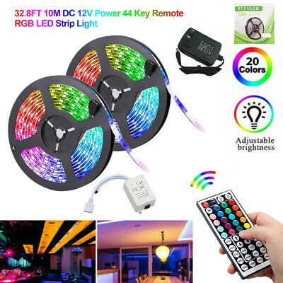 $19.99 • Buy 32.8Ft 10M SMD 5050 300 Led Strip Light RGB Remote Control Kit With Power Supply