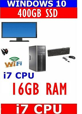 HP I7 COMPUTER PC 22  TFT MONITOR 16GB RAM 400GB SSD WINDOWS 10 WIFI READY • 319.99£