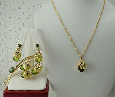 Sarah Coventry Touch Of Elegance Necklace Green Parure Pin Brooch Earring Set • 39.95$