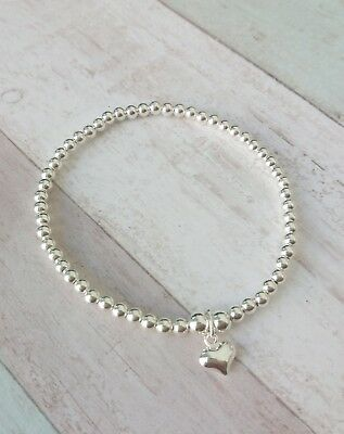 Children's Sterling Silver Stretch Stacking Heart Bracelet, Perfect Gift  • 14£