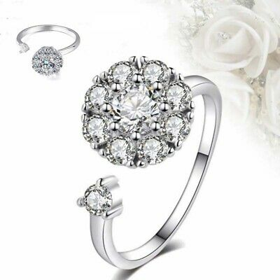 Open Spinning Ring Adjustable Women's Crystal Anti-Anxiety Rotating • 3.36£