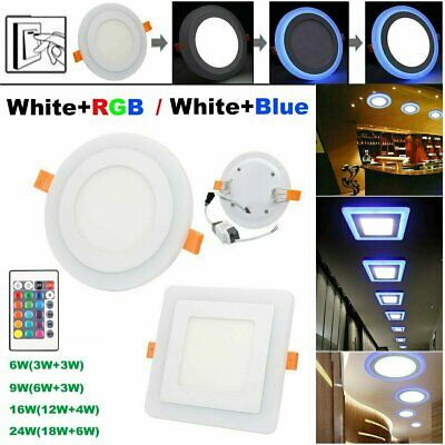£8.98 • Buy LED Ceiling Panel Light Dual Color White+RGB / Blue Recessed Downlight Spot Lamp