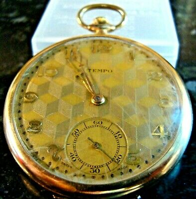 VINTAGE 1920s  TEMPO ROLLED GOLD 15 JEWELS  POCKET WATCH WORKING FANTASTIC WATCH • 138£