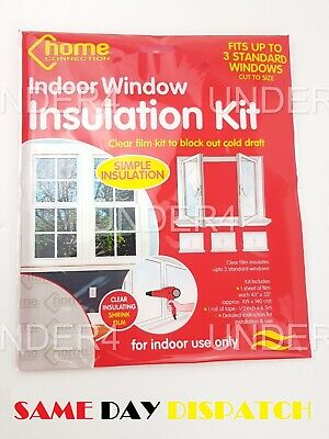 £2.79 • Buy Window Insulation Kit Shrink Fit Double Glazing Film Draught Excluder Cold Frost
