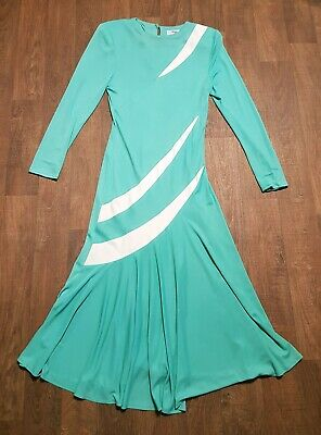 AU85.57 • Buy 1970s Vintage Green Bias Cut Evening Dress UK Size 10 Vintage Clothing