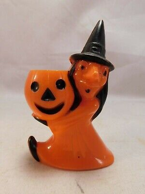 $ CDN39.42 • Buy Vintage 1950s Rosbro Plastics Halloween Witch W/Pumpkin Plastic Candy Container