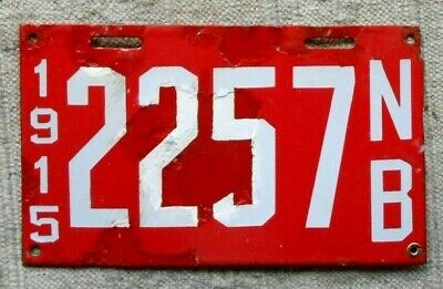 $ CDN362.36 • Buy NEW BRUNSWICK License Plate Tab 1915 PORCELAIN Poorly Restored - Low Shipping