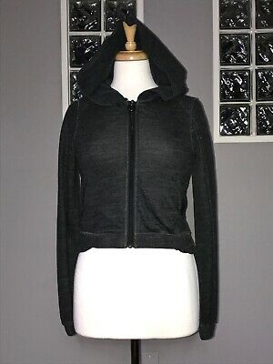 $ CDN70.40 • Buy Lululemon Sattva Jacket 4 Black Cropped Hoodie Tencel Merino Ruffle Back Pleats