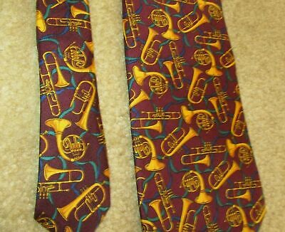 Novelty Necktie Neck Tie - Allyn - Horns Trombone MUSIC Teacher Musician Silk Ce • 11$