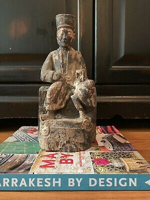 £90.54 • Buy Antique Chinese Warrior Statue 19th Century Hand Carved With Prayer Opening