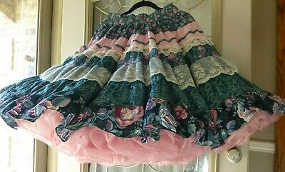Pink & Green SQUARE DANCE SKIRT W Ivory Lace 21.5  Long • 24.99$
