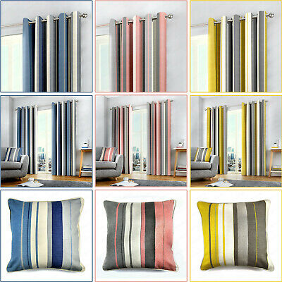 WHITWORTH Vertical Stripe Print Lined Ready Made Eyelet/Ring Top Curtains Pair • 20.99£
