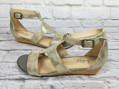 CLARKS Women's Shoes Size6 ABIGAIL LILY Strappy Suede Wedge Sandals 40589 PEWTER • 50.67£