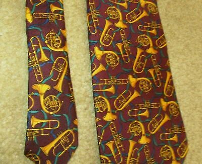 Novelty Necktie Neck Tie - Allyn - Horns Trombone MUSIC Teacher Musician Silk Rl • 11$
