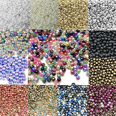 £2.99 • Buy 1000x Tiny 3mm Acrylic Faux Pearl Beads For Jewellery Making - Pick Your Colour