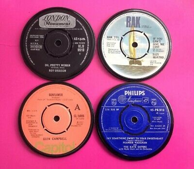 Four Hand Crafted Original Vinyl Record Drinks Coasters Memories From 1960/70s • 6.99£