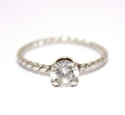 $9.99 • Buy Sterling Silver .75 Carat Round Cut CZ Rope Band Solitaire Ring Size 7 [12WEIR]