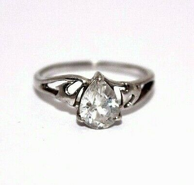 $9.99 • Buy Sterling Silver 1.0 CT Pear Cut CZ Solitaire Ring Size 7 [12WEIR]