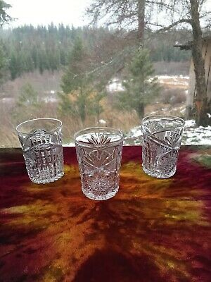 Three Libbey ABP Cut Glass Colonna Old Fashioned Glasses • 150$