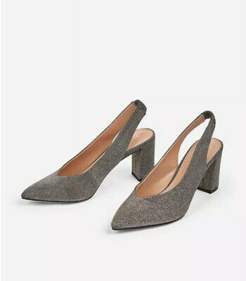 Dorothy Perkins Pewter Glitter Pointed SlingBack Evening Block Heel Shoes 7 40 • 24.99£