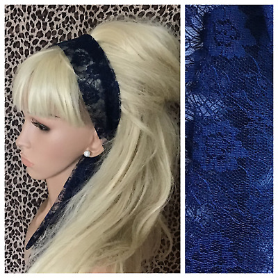 NAVY BLUE FLORAL LACE 50s VINTAGE HEADBAND HAIR SCARF SELF TIE BOW 80s RETRO • 2.99£