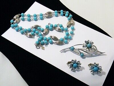 Sarah Coventry BLUE NOTE Brooch Earrings Necklace Set Flower Turquoise Color • 7.99$