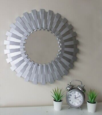 Silver Round Sunburst Mirror 50cm Wall Hanging Decor Bathroom Bedroom Living • 14.99£