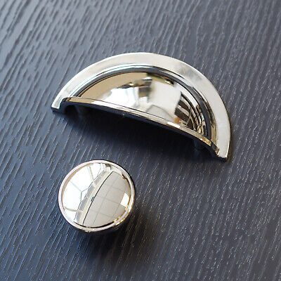 Polished Chrome Cup Handle & Knob | For Furniture, Kitchens, Cabinets & Drawers • 1.76£