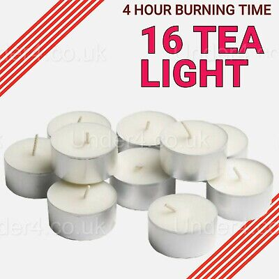 16 Tea Lights 4 Hour Long Burn Night Light Candles Unscented Tealights Bloome🔥 • 2.99£