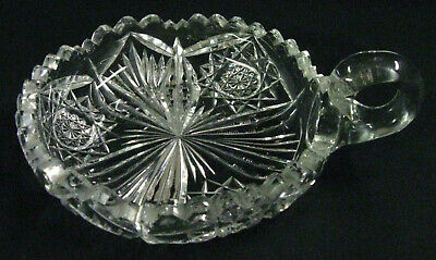 Signed Libbey Antique Circa 1905 American Brilliant Cut Glass Handled Nappy Bowl • 15$