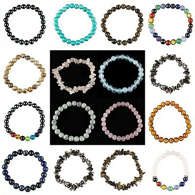 Bracelet Stretch Gemstone Beaded Elasticated Chip Pearl Lava Semi Precious Bead • 2.40£