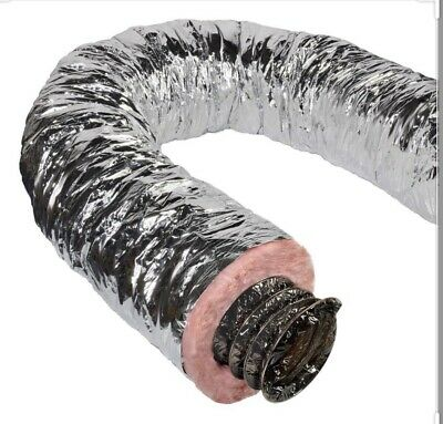 Insulated Flexible Duct 14 Inch X 25 Ft R8 Silver • 70$