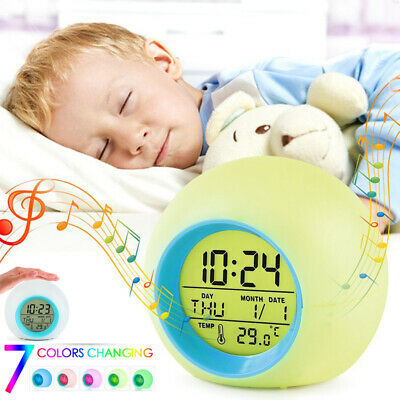 AU11.56 • Buy Alarm Clock Digital LED Thermometer Changing Light Night Glowing Clock For Kids