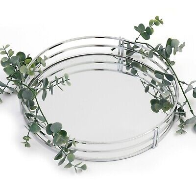 £23.45 • Buy Silver Metal Vintage Mirror Glass Candle Plate Perfume Decorative Display Tray