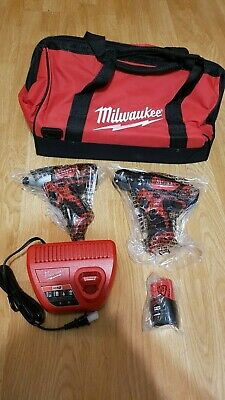 Milwaukee M12 3/8 In. Drill & 1/4 In. Impact Driver With Bag, Battery, Charger,  • 60$