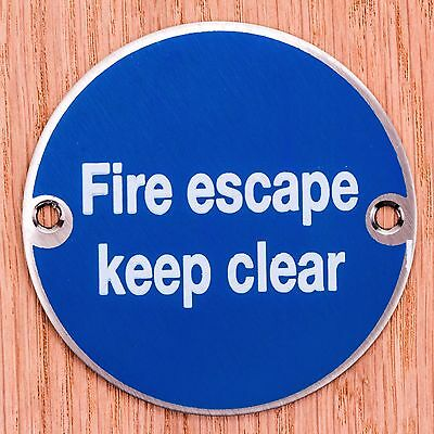 Stainless Steel FIRE ESCAPE KEEP CLEAR 3  Sign Health & Safety Door Notice Plate • 3.73£