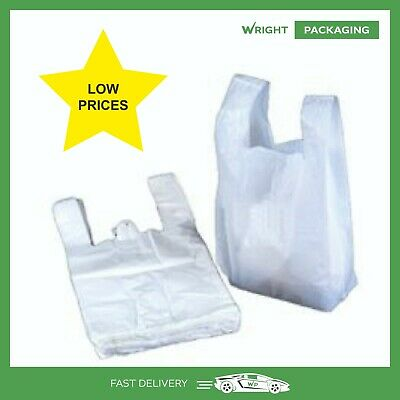 11x17x21 INCHES LARGE STRONG  WHITE PLASTIC CARRIER BAGS -  NOT CHEAP QUALITY  • 4.99£