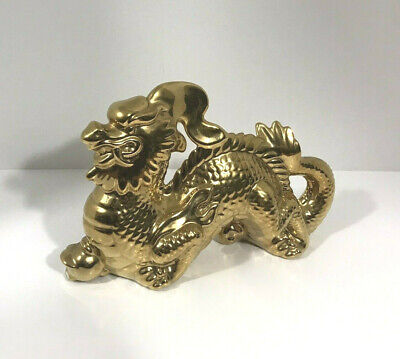 $17.50 • Buy Metallic Gold Painted Ceramic Dragon Statue 9-1/2 Inches Long X 6 Inches Tall