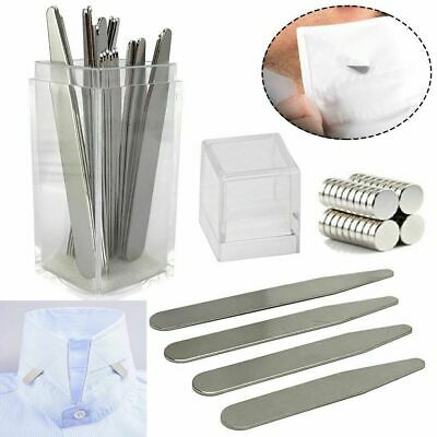 $4.64 • Buy 40/10 Metal Collar Stays Stiffeners / 10 Magnets For Men Shirts 4 Sizes With Box