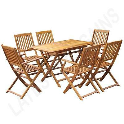 AU432.83 • Buy 7 Pc Outdoor Dining Setting Wooden Patio Furniture Folding Table & Chairs Set