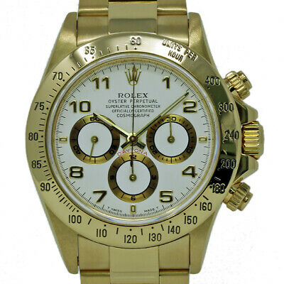 $29795 • Buy Rolex Daytona 16528 40mm Zenith 18K Yellow Gold White 1995 2YrWarranty #I2261