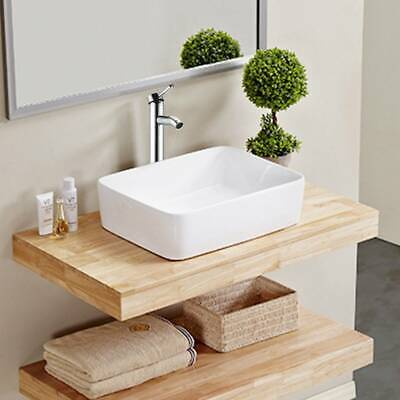 Bathroom Ceramic Basin Hand Wash Sink Counter Top Or Wall Mounted Hung White UK • 47.99£