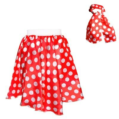 RED & WHITE POLKA DOT SKIRT & SCARF Bright Costume For Women Ladies Night Out UK • 6.42£