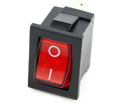 Rocker Switch 10A 125VAC/6A 250VAC RED ON-OFF Single Pole 3 Pin ILLUMINATED • 2.98£